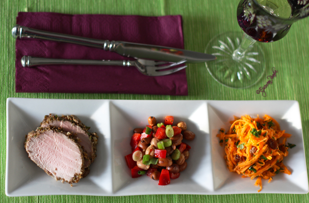 Pork filet and two salads