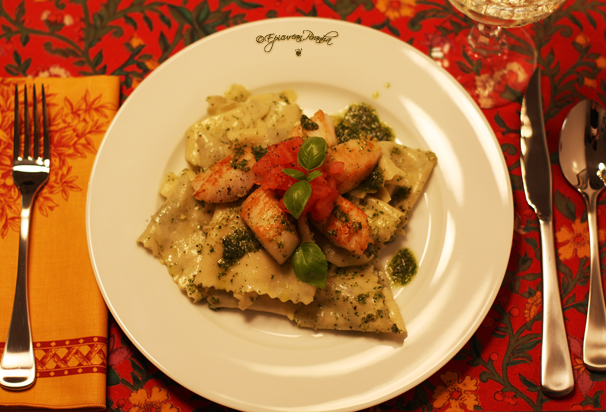 Fresh Pappardelle with Scallops & Pesto