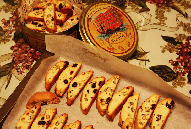 Pistachio & dried cranberry biscotti